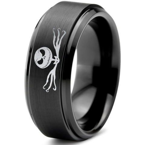 Nightmare Jack Skellington Black Tungsten Ring with Step Edge