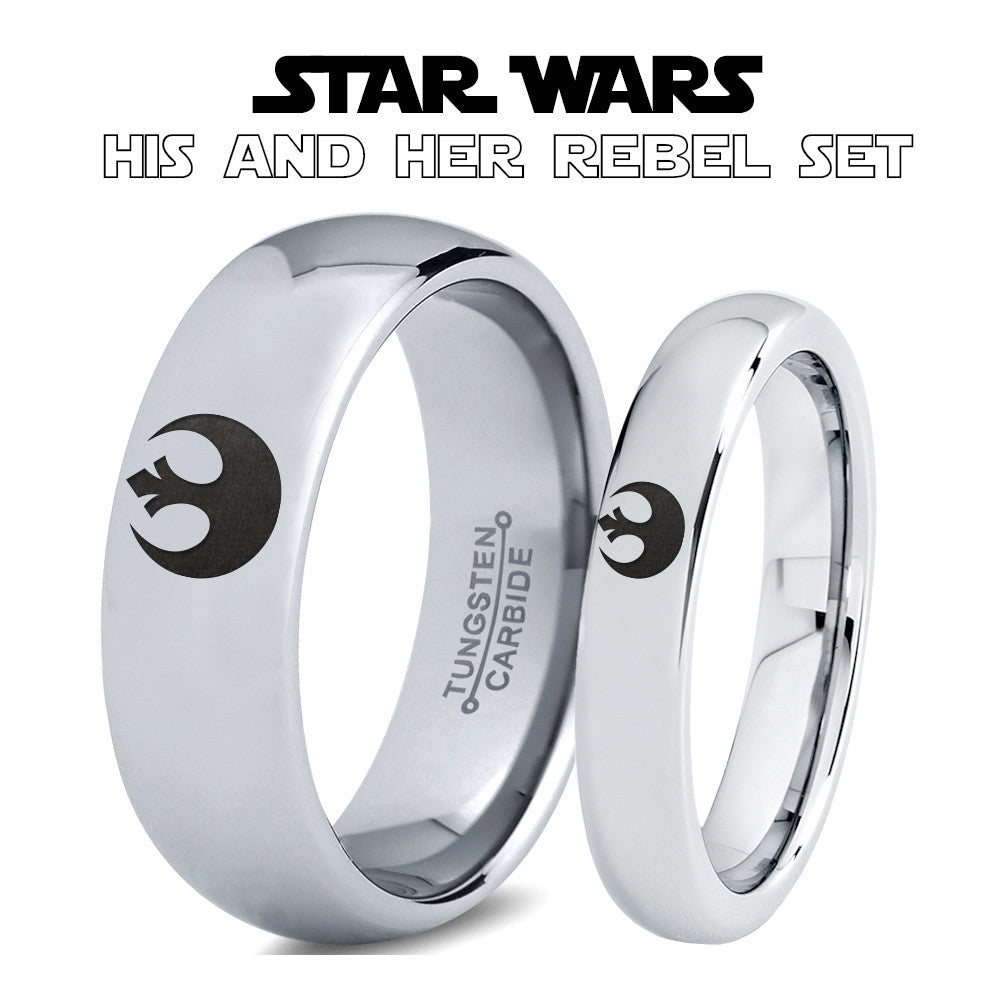 Star Wars Rebel Alliance His and Hers Tungsten Ring Set Zealot