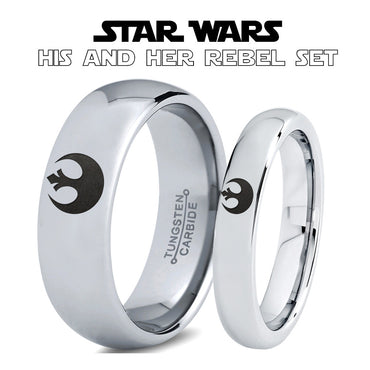 Star Wars Rebel Alliance His and Hers Tungsten Ring Set