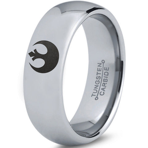 Star Wars Rebel Alliance Silver Polished Tungsten Dome Ring