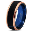 Blue Chromacolor Black Tungsten Beveled Rose Gold Plated Ring - Zealot