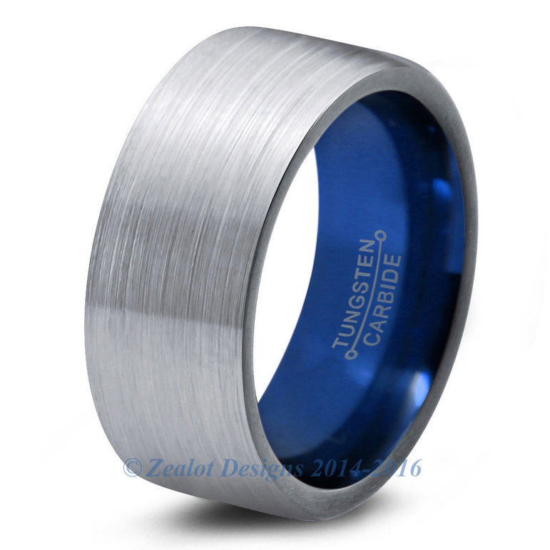 Blue Chromacolor Silver Tungsten Ring