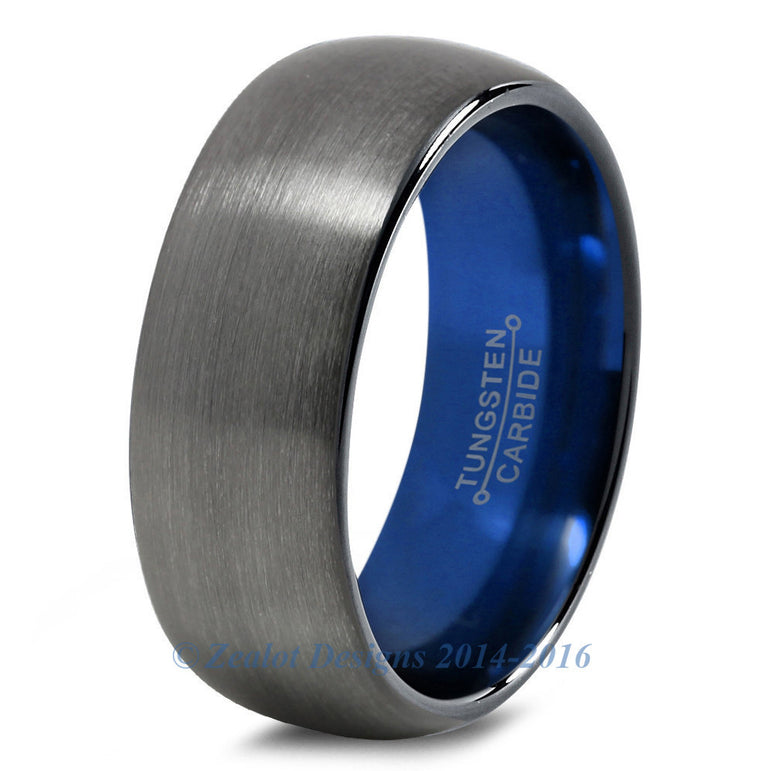Blue Chromacolor Black Gunmetal Dome Cut Tungsten Ring