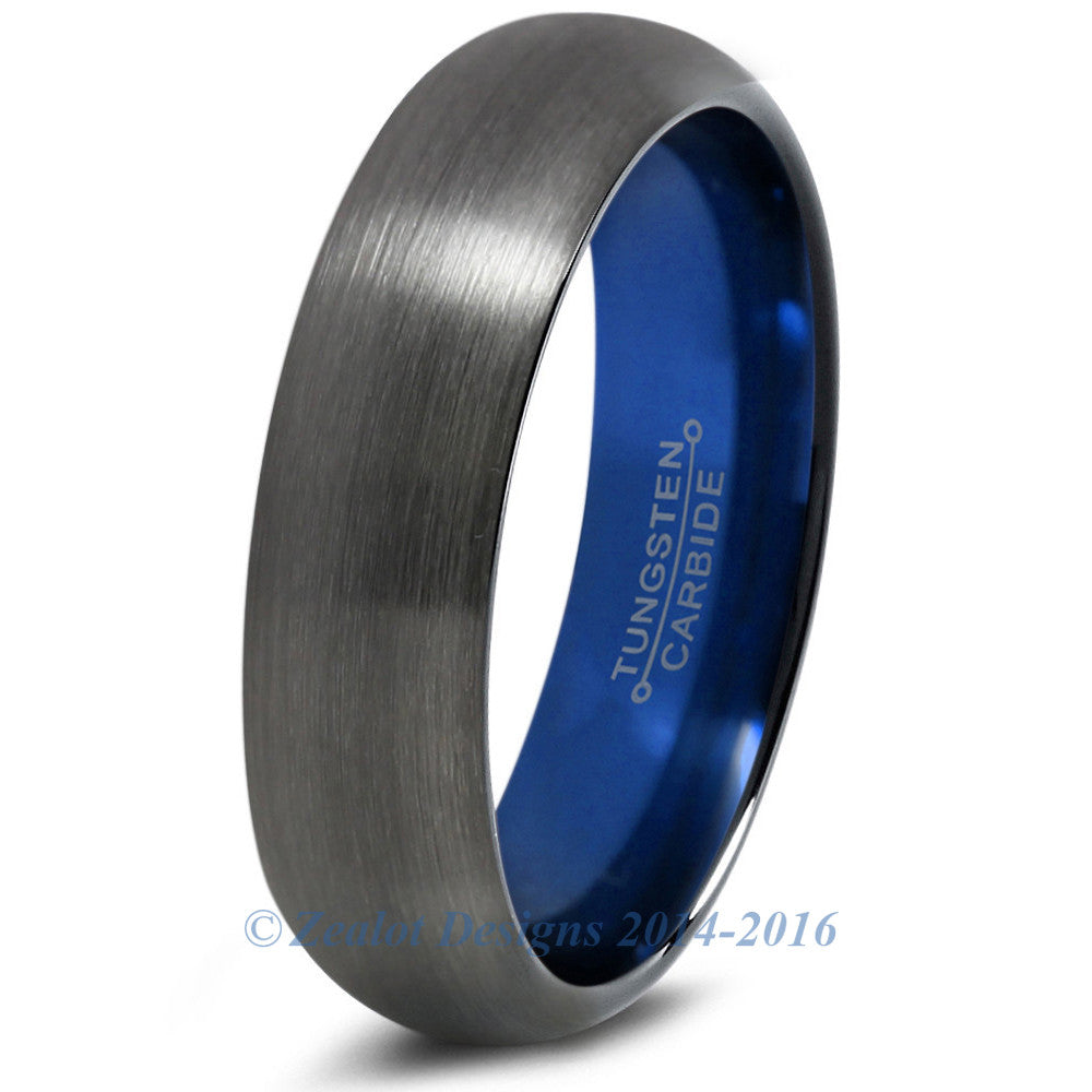 Blue Chromacolor Black Gunmetal Dome Cut Tungsten Ring 6mm