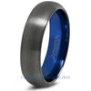 Blue Chromacolor Black Gunmetal Dome Cut Tungsten Ring - Zealot