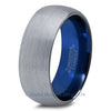 Blue Chromacolor Silver Dome Cut Tungsten Ring - Zealot