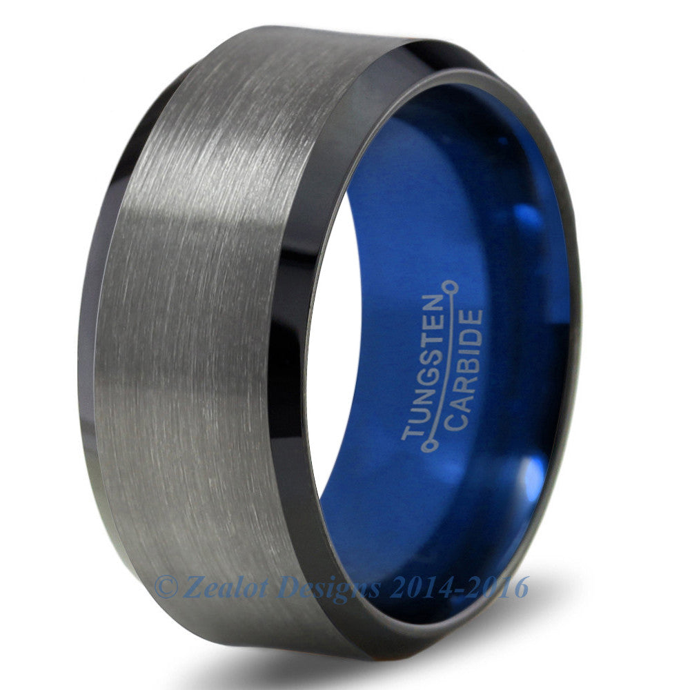 Blue Chromacolor Black Gunmetal Beveled Tungsten Ring