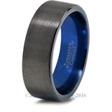Blue Chromacolor Black Gunmetal Tungsten Ring