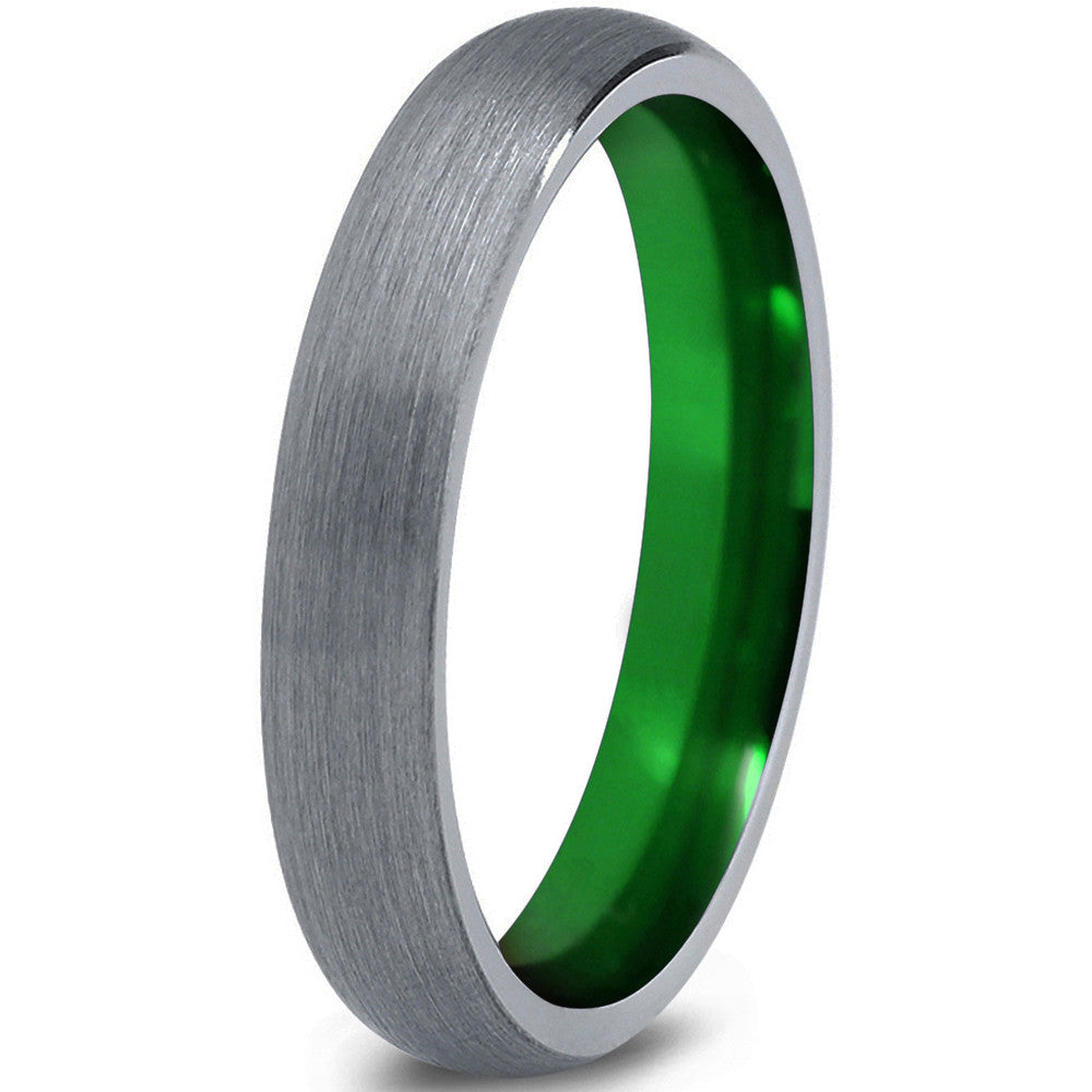 Tungsten Wedding Band Ring Green Dome Silver Brushed - Zealot