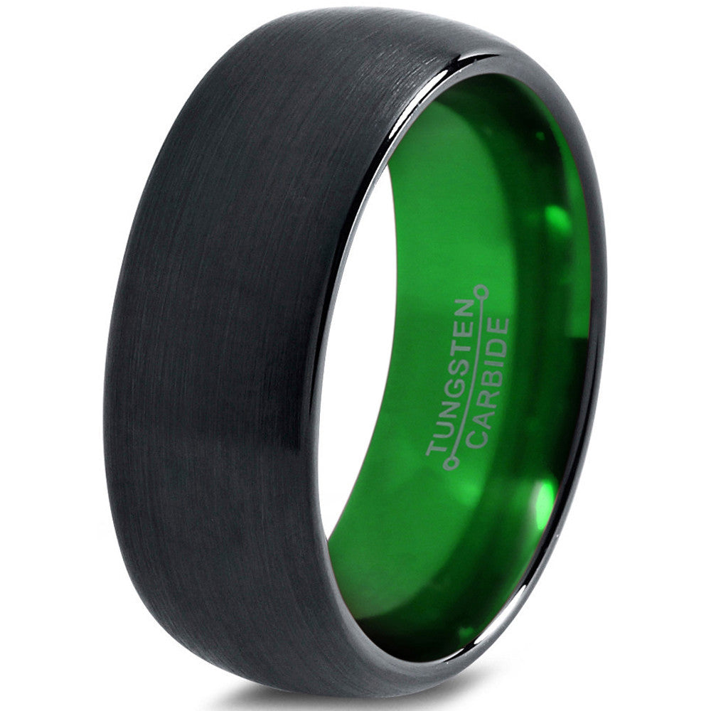 Tungsten Wedding Band Ring Green Dome Black Brushed - Zealot