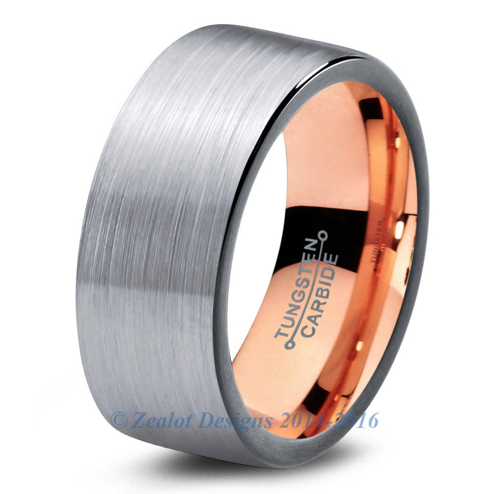 Rose Gold Chromacolor Silver Tungsten Ring