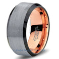 Rose Gold Chromacolor Silver Beveled Tungsten Ring