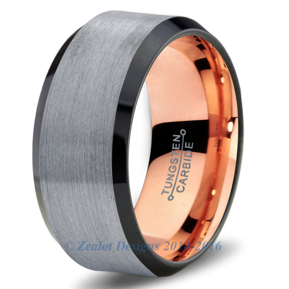 Rose Gold Chromacolor Silver Beveled Tungsten Ring - Zealot