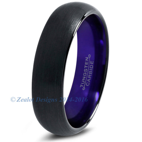 Purple Chromacolor Black Dome Cut Tungsten Ring