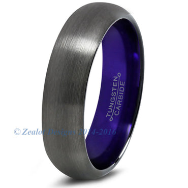 Purple Chromacolor Black Gunmetal Dome Cut Tungsten Ring
