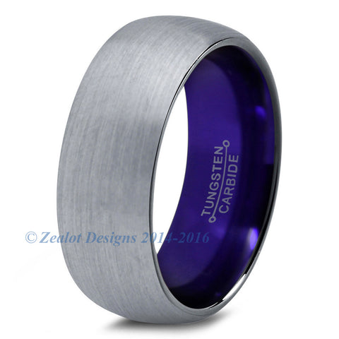 Purple Chromacolor Silver Dome Cut Tungsten Ring