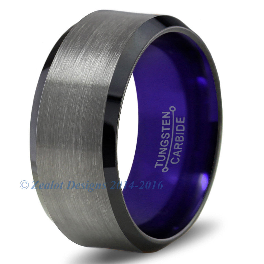 Purple Chromacolor Black Gunmetal Beveled Tungsten Ring