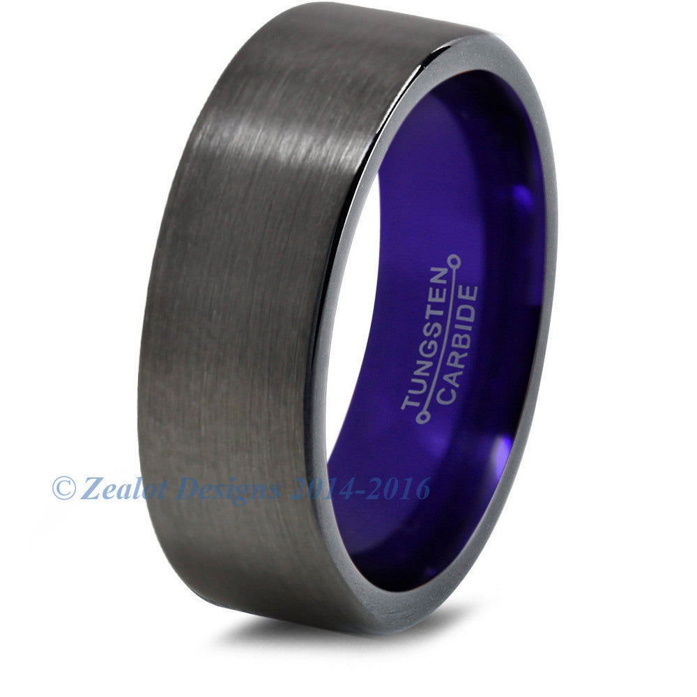 Purple Chromacolor Black Gunmetal Tungsten Ring