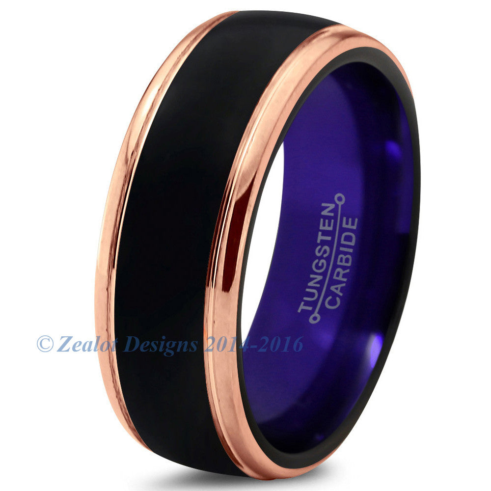 Purple Chromacolor Black Tungsten Beveled Rose Gold Plated Ring - Zealot