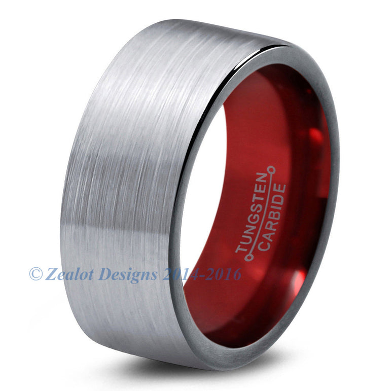 Red Chromacolor Silver Tungsten Ring