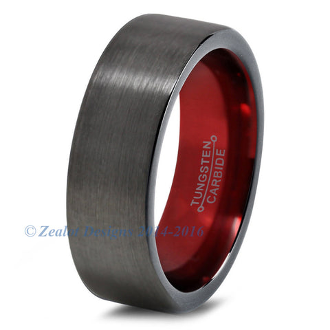 Red Chromacolor Black Gunmetal Tungsten Ring