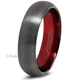 Red Chromacolor Black Gunmetal Dome Cut Tungsten Ring