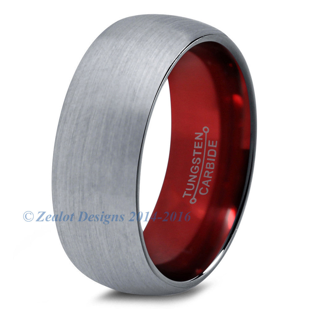 Red Chromacolor Silver Dome Cut Tungsten Ring - Zealot