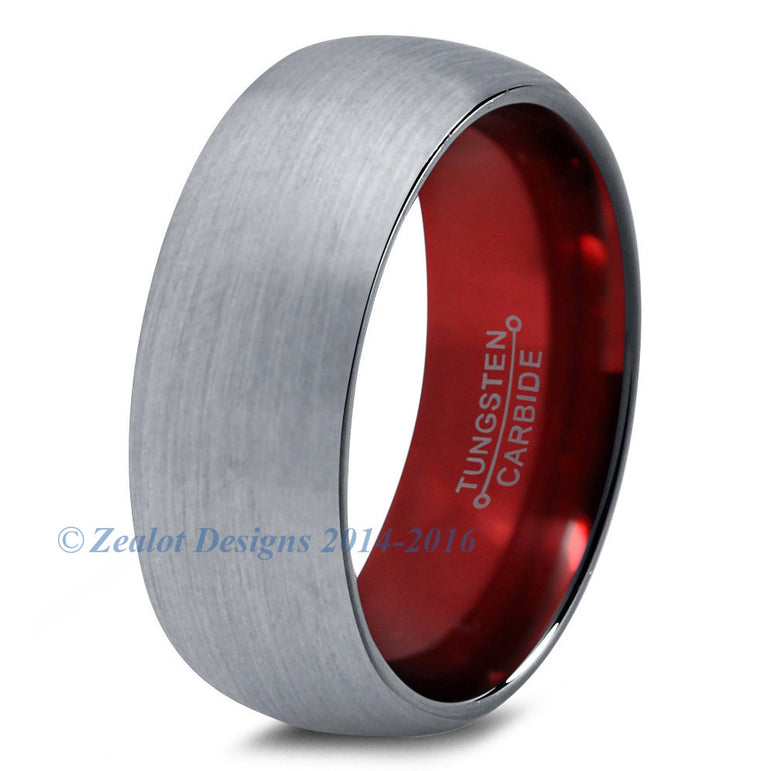 Red Chromacolor Silver Dome Cut Tungsten Ring