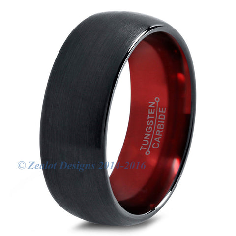 Red Chromacolor Black Dome Cut Tungsten Ring