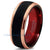 Red Chromacolor Black Tungsten Beveled Rose Gold Plated Ring - Zealot