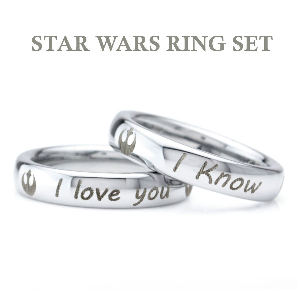 Star Wars Inspired Ring Set Tungsten Wedding Band Ring Zealot