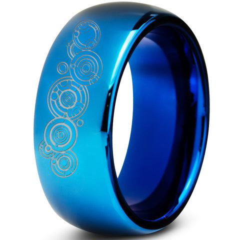 Doctor Who Gallifrey Blue Dome Tungsten Ring