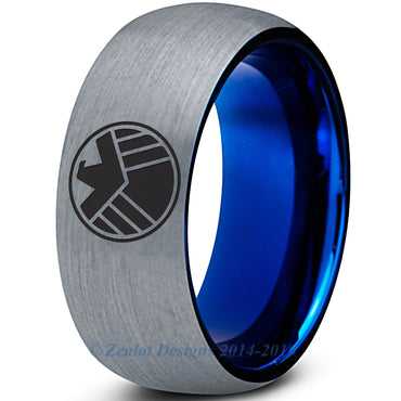 S.H.I.E.L.D Inspired Silver Blue Tungsten Ring