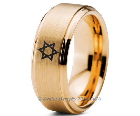 Star of David Tungsten Wedding Band Ring 8mm Brushed