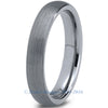 4mm Brushed Silver Dome Cut Tungsten - Zealot