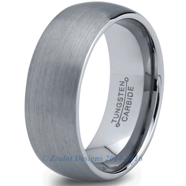 8mm Brushed Silver Dome Cut Tungsten