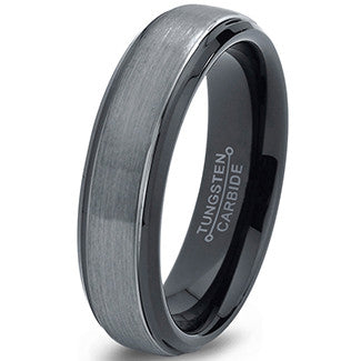 6mm Silver Brushed Black Step Edge Tungsten Ring