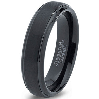 6mm Black Plated Step Edge Tungsten Ring