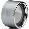 12mm Brushed Silver Pipe Cut Tungsten - Zealot