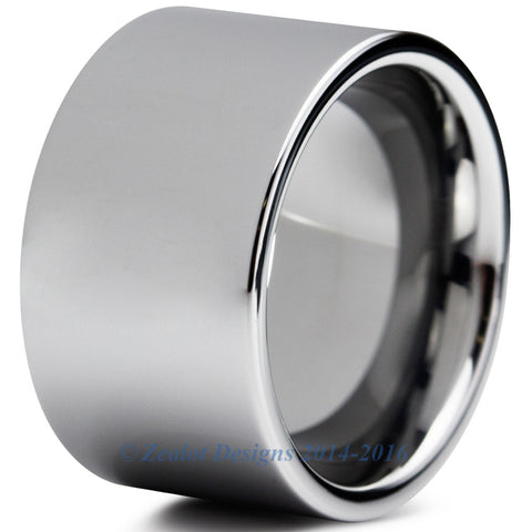 12mm Polished Silver Pipe Cut Tungsten