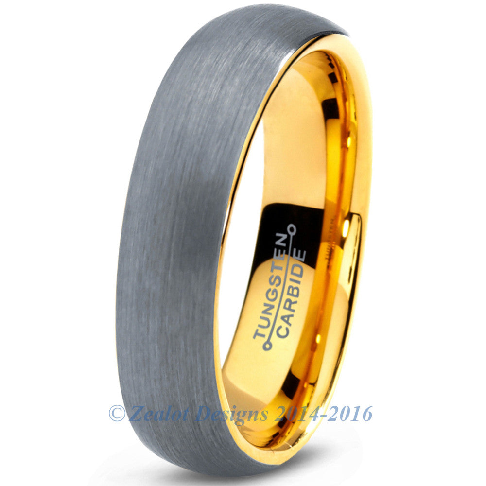 5mm 18k Yellow Gold Plated Brushed Dome Cut Tungsten