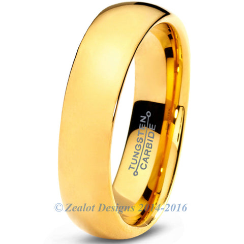 5mm 18k Yellow Gold Plated Dome Cut Tungsten