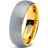 7mm 18k Yellow Gold Plated Brushed Dome Cut Tungsten