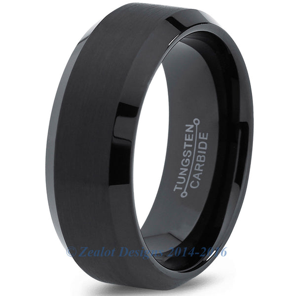 8mm Black Tungsten Brushed Beveled Pipe Cut