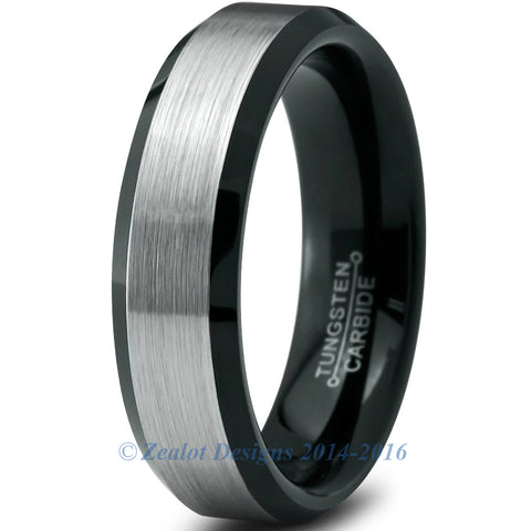 6mm Brushed Silver Tungsten Step Edge Beveled Pipe Cut