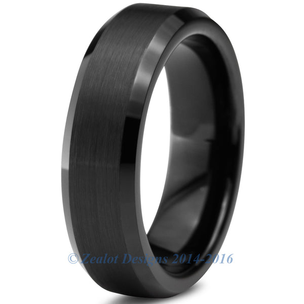 6mm Black Tungsten Brushed Beveled Pipe Cut