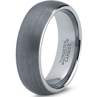 7mm Brushed Silver Dome Cut Tungsten