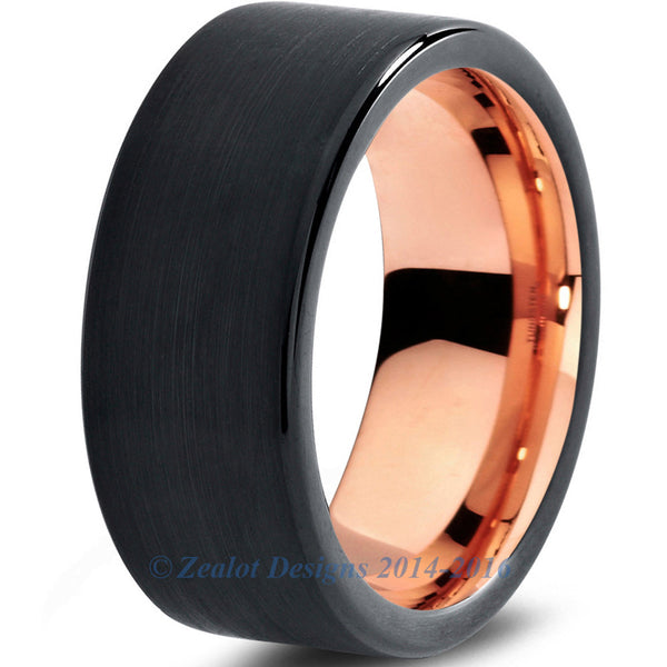 8mm 16k Rose Gold Plated Tungsten Brushed Black Pipe Cut