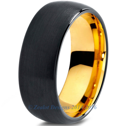 8mm 18k Yellow Gold Plated Tungsten Black Dome Cut