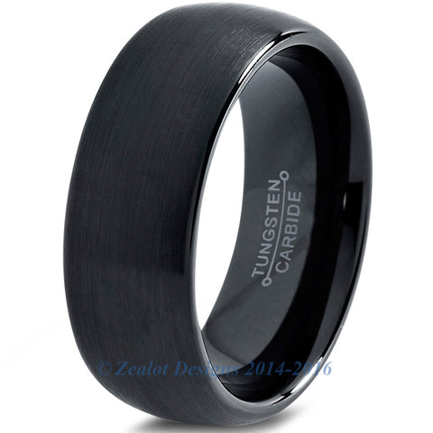 8mm Black Tungsten Domed Brushed
